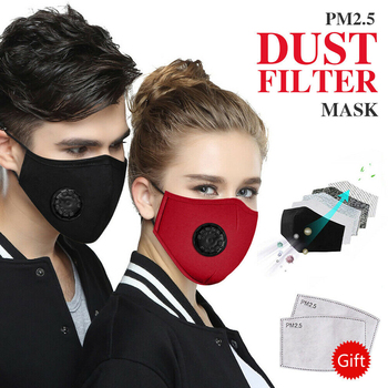 Top Reusable Cotton PM2.5 Face Mouth Mask Anti Dust Face Mascarilla Activated Carbon Filter Mouth Cover Black Grey Red Navy блеск для губ top face top face to059lwexeg3