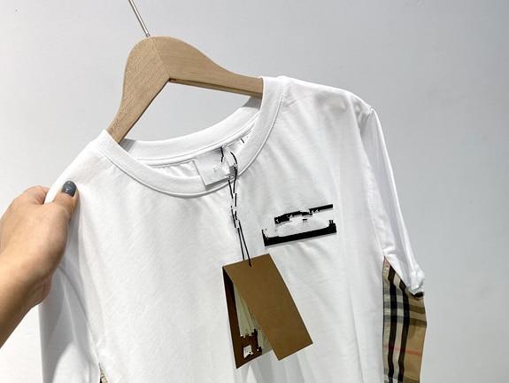 2020 Summer B Home Side Spell Grid Sticker Couple Money Trend Simple Joker Short Sleeve T Shirt|T-Shirts| - AliExpress