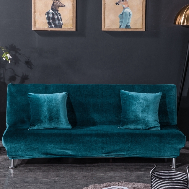 Solid Color Armless Sofa Cover Stretch Sofa Bed Slipcover Protector Elastic Spandex Modern Folding Couch Sofa Shield Futon Cover