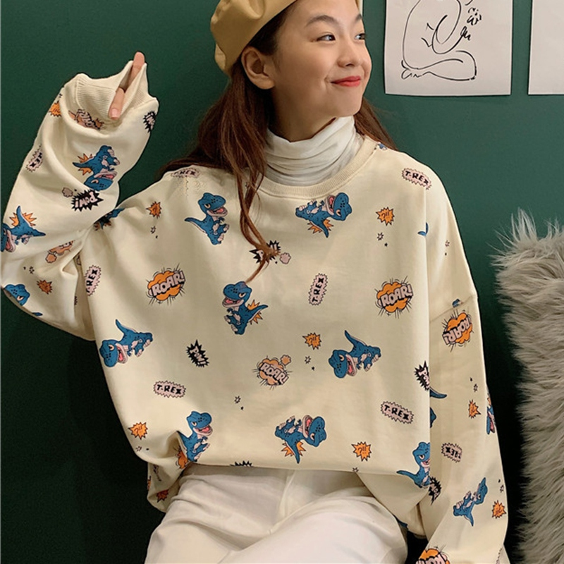 Women Autumn Korean Sweatshirt Cute Small Fresh Dinosaur Print Tops Loose Round Collar Pullover Female Tops