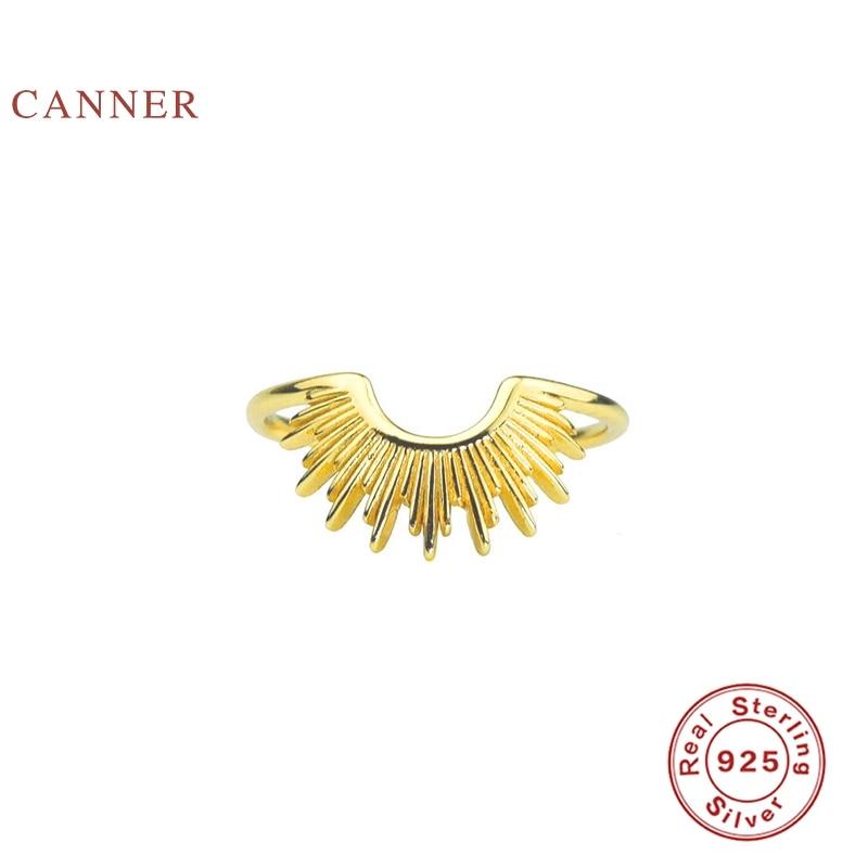 CANNER-anillo con semicírculos de línea lisa en forma de C, Anillos de oro de Plata de Ley 925 para mujer, joyería de boda de buenos de lujo