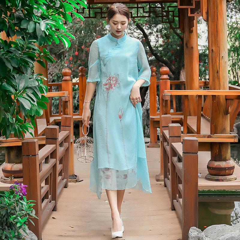 Ming Ling Premier Stand Collar Loose-Fit Chinese-style Hand-Painted Xie Jin Pullover Chinese Style Improved Cheongsam Dress