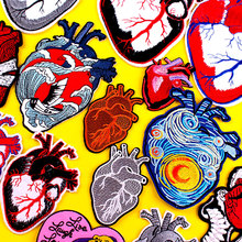 DIY Embroidery Heart Patch Van Gogh Iron On Patches For Clothing Punk Patch Embroidered Patches For Clothes Badge Stripe Sticker big punk skull patch iron biker morale wings back patch badge large embroidery patches for clothes jacket jeans applique nl210