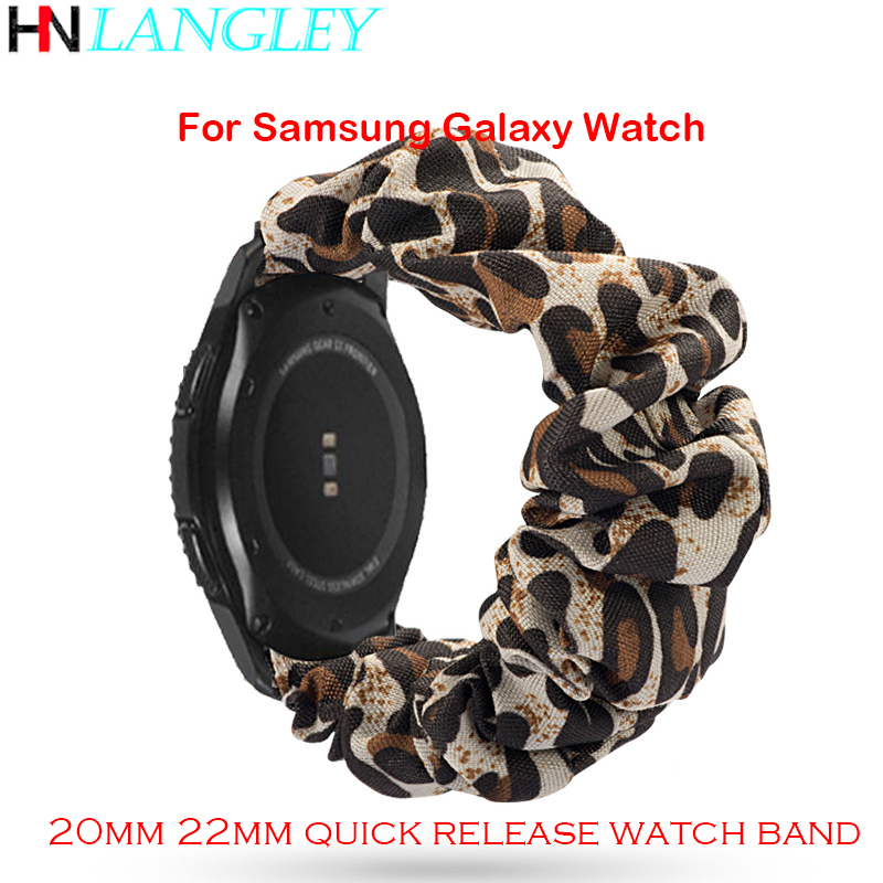 For Samsung Galaxy Watch Huawei GT Watch Bands 20mm 22mm Quick Release Straps Fabric Elastic Scrunchies Women Girls Wristband