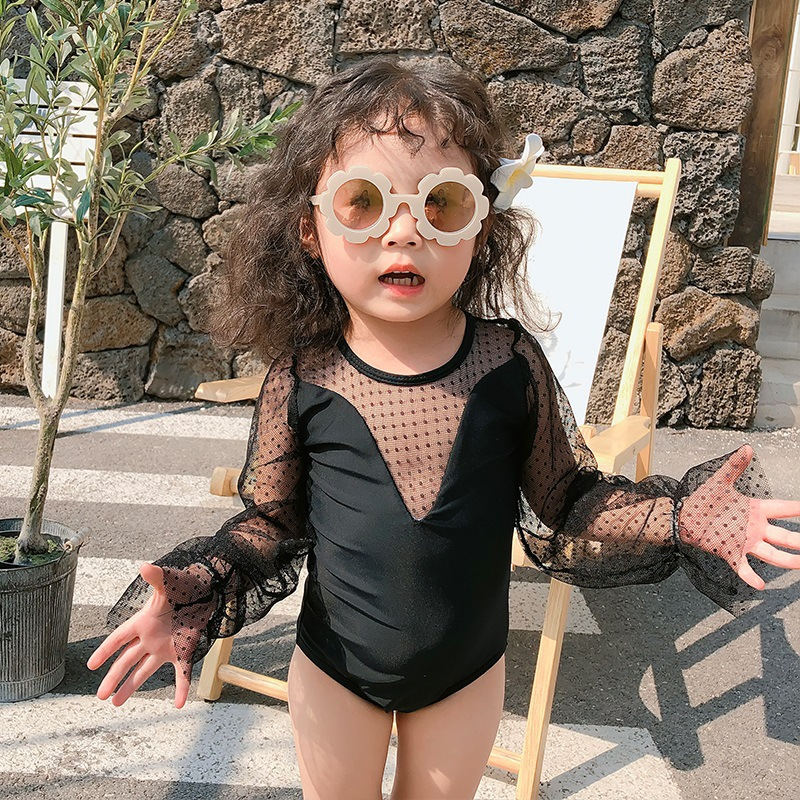 KID'S Swimwear South Korea New Style Cute Medium-small GIRL'S Girls Baby Long Sleeve Sun-resistant One-piece Triangular Princess