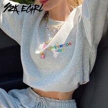 Y2k egirl милые укороченные топы с длинными рукавами и вышивкой
