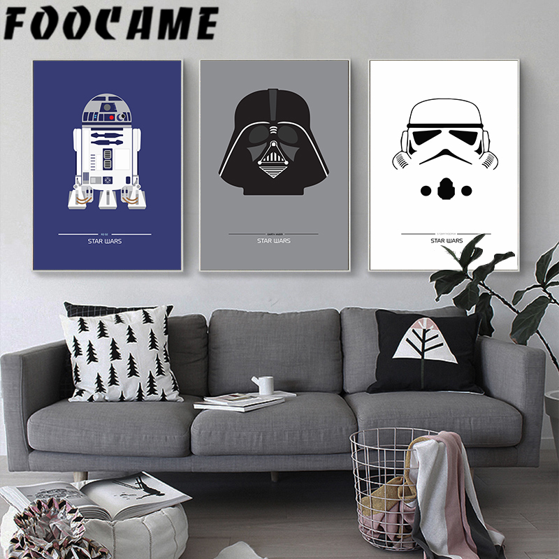 FOOCAME Star Wars Cartoon Nordic Movie Poster Baby Nursery Modern Decoration Pictures Wall Art Print Canvas Painting Bedroom image
