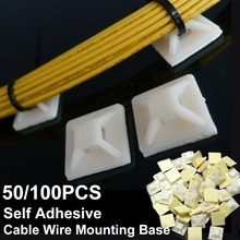 Fixing-Seat-Clamps Base-Mounts Wall-Holder Self-Adhesive-Cable-Wire 200pcs/Set 2cmx2cm