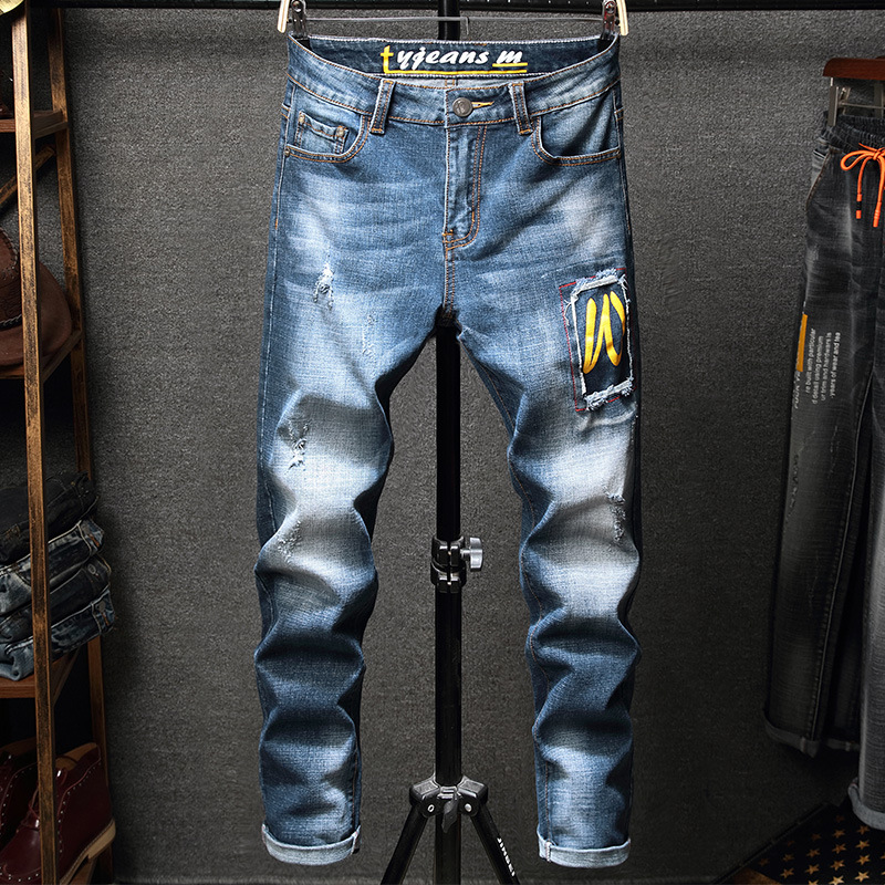 New Style Western Style MEN'S Jeans Slim Fit Fashion Applique Elasticity Skinny MEN'S Jeans