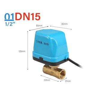 Image 2 - 12V Elektrik Motorlu kanallı küresel vana klima Su Sistemi Kontrolörü 2 Yollu 3 Wire 1.6Mpa G Konu DN15 DN20 DN25