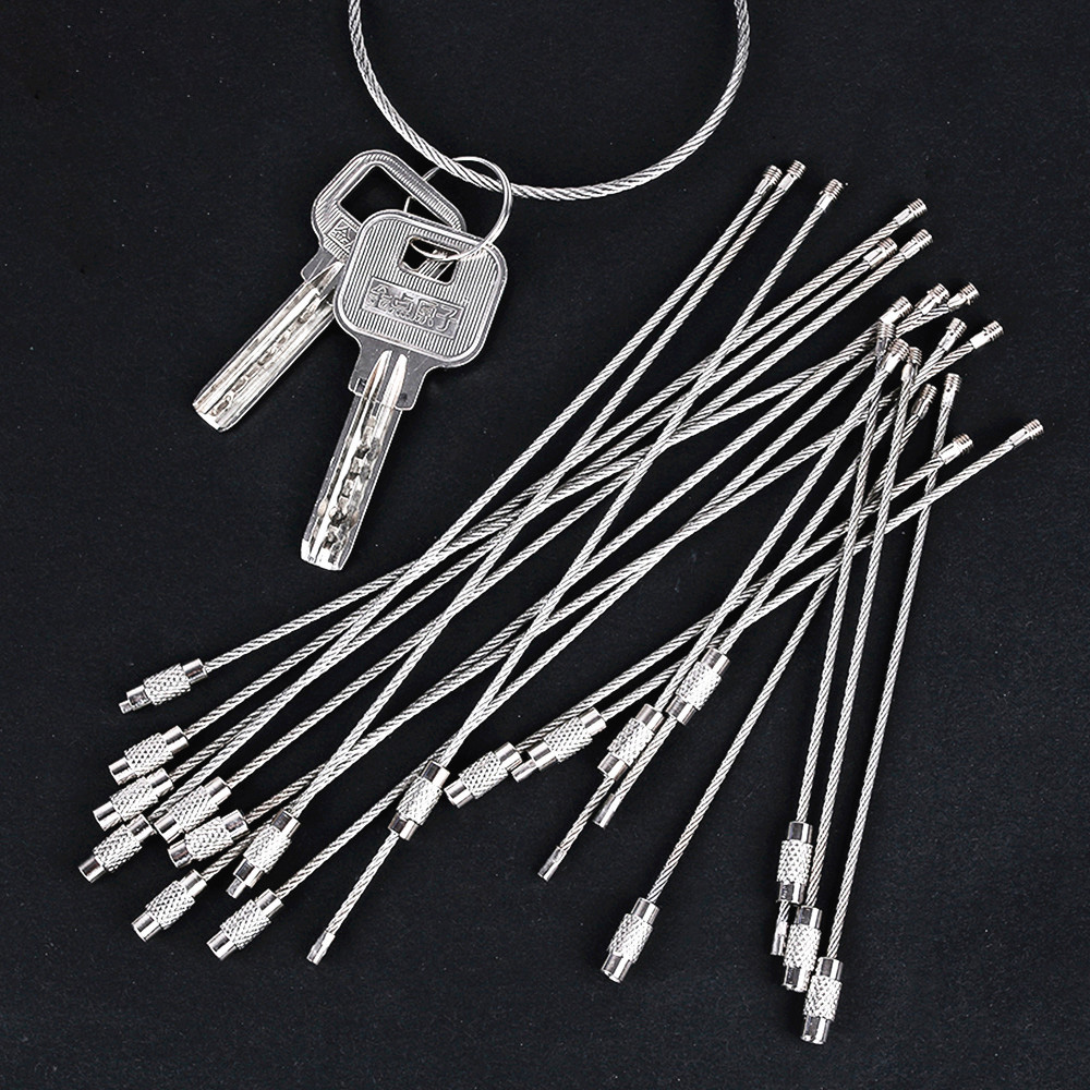 Oaiee 10Pcs 10cm 20cm Keychain Tag Rope Stainless Steel EDC Wire Cable Loop Screw Lock Gadget Ring Key Keyring Hand Tool