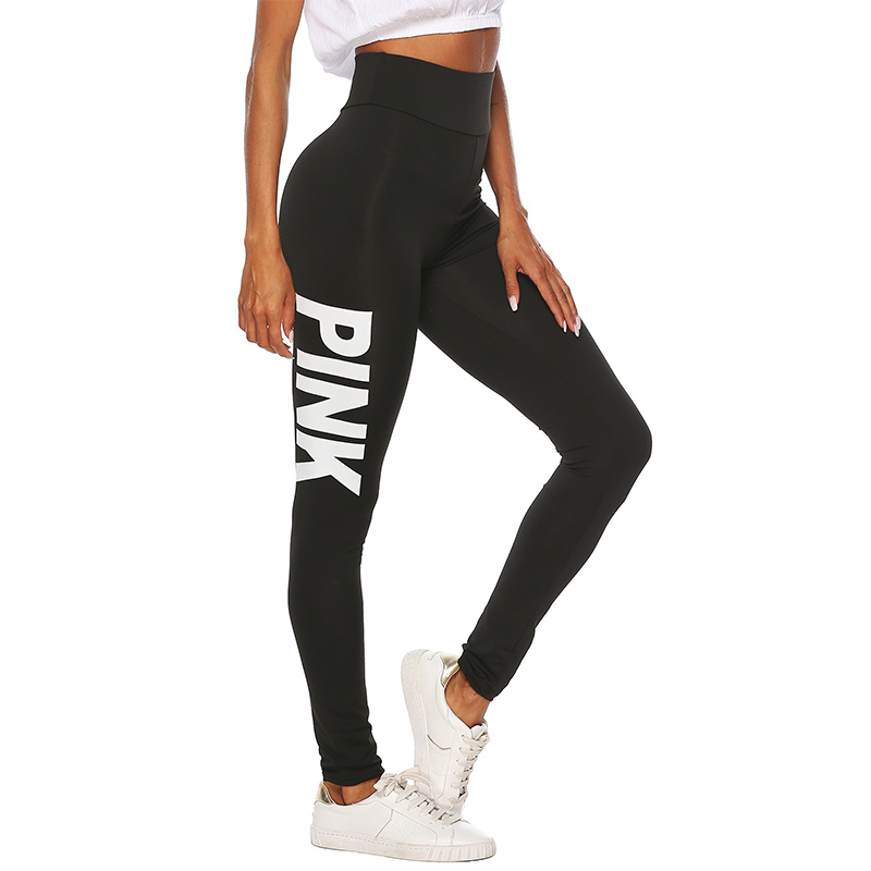 2019 New Women PINK letter printing Leggings Push Up Trousers Sexy Casual Warm High Waist Legging Elastic Pencil Pants Plus size 1