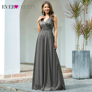 Image 2 - Ever Pretty vestidos de noite decote em V,, a linha, sem mangas, comprido até o chão, EZ07764NB, vestido de festa robe