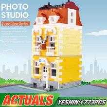 MOC Streetview Bausteine Die Vintage Fotografie Boden Modell Montage Ziegel Kits Spielzeug Lustige Kinder Weihnachten Geschenke