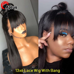 Bang Wig Human Hair Straight Pre Plucked Baby Hair 13x6 Lace Front Human Hair Wigs with Bangs MalaysianStraight lace Wig