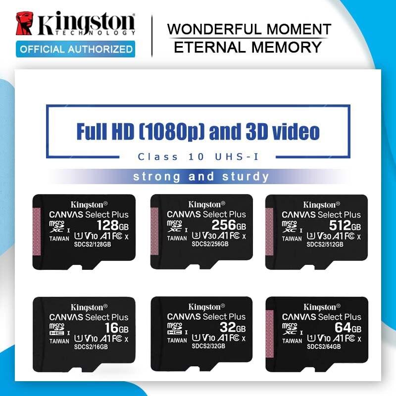 Kingston Карта памяти Micro sd, класс 10, 128 ГБ, 64 ГБ, 32 ГБ, 16 ГБ