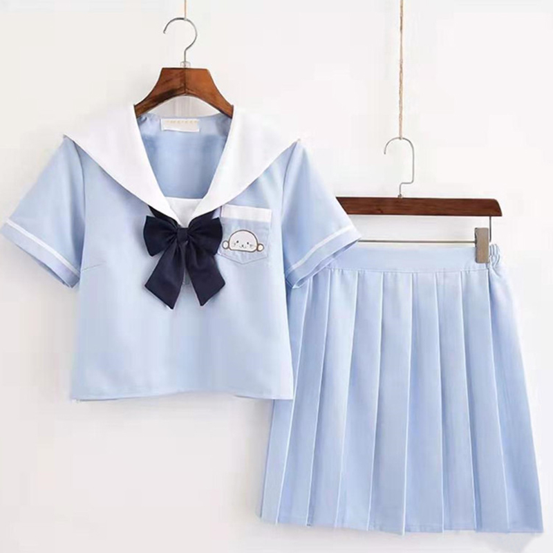 Sky Blue Plus Size Sailor School Uniform XXL Japanese School Girls Chorus Performance Sailor Top Pleated Skirt Sets
