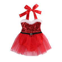 0-3Y Newborn Baby Girls Christmas Red Dress Sequins Tulle Tutu Party Dresses For Costumes Xmas Clothes