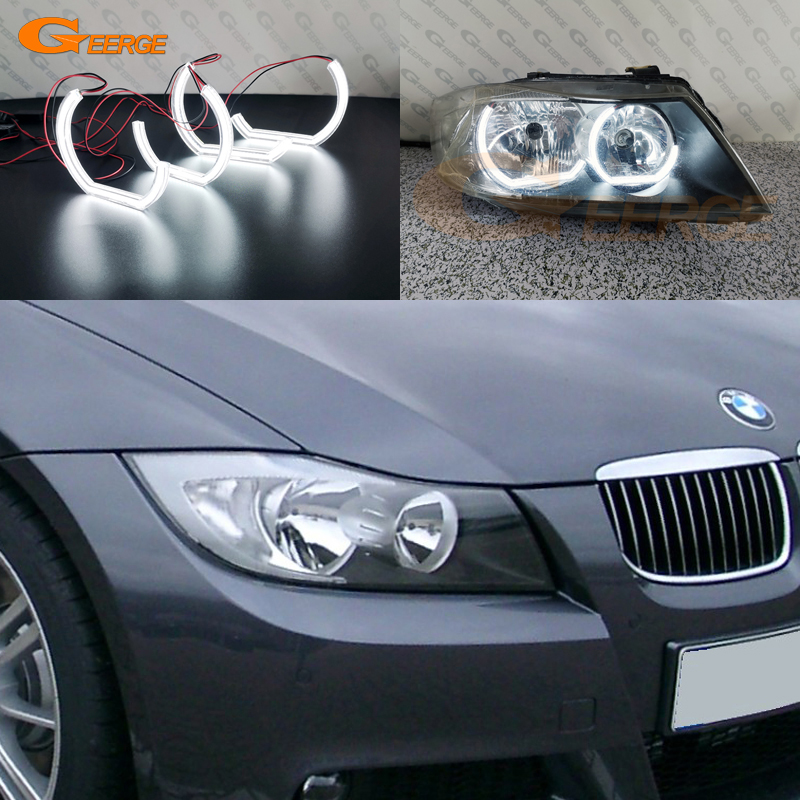 For BMW 3 Series E90 E91 2005 2006 2007 2008 pre LCI headlight Excellent crystal DTM M4 Style Ultra bright led Angel Eyes kit image