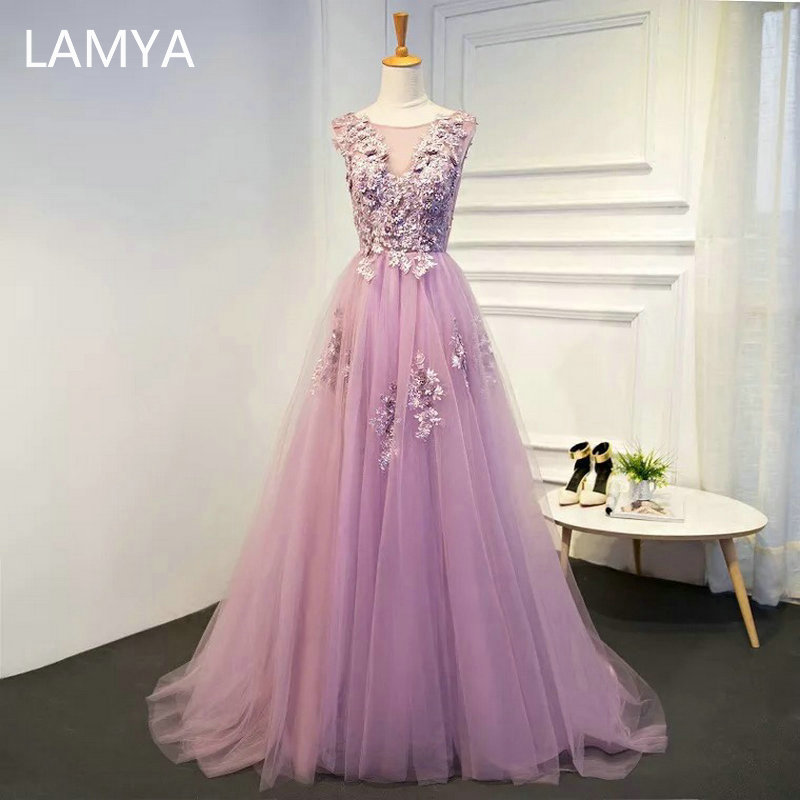 LAMYA New Sweet Purple Evening Dress Sexy V-neck Embroidery Floor-length Prom Formal Gown Appliques Vestido De Noche