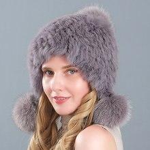 Модная женская шапка из натурального кроличьего меха зимние