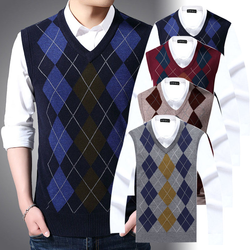 2019 New Fashion Brand Korean Style Casual Men Clothes Sweater For Mens Pullovers Plaid Slim Fit Jumpers Knitred Vest Autumn