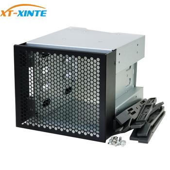 XT-XINTE 5 Inch 3 x Optical Drive Bays to 4-Bay 3.5 Inch SATA SAS HDD Cage Rack Bracket Hard Drive Tray Caddy Adapter Converter image