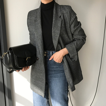 Ailegogo New 2019 Autumn Winter Women's Blazers Plaid Double Breasted Pockets Formal Jackets Notched Outerwear Tops JK7113 1