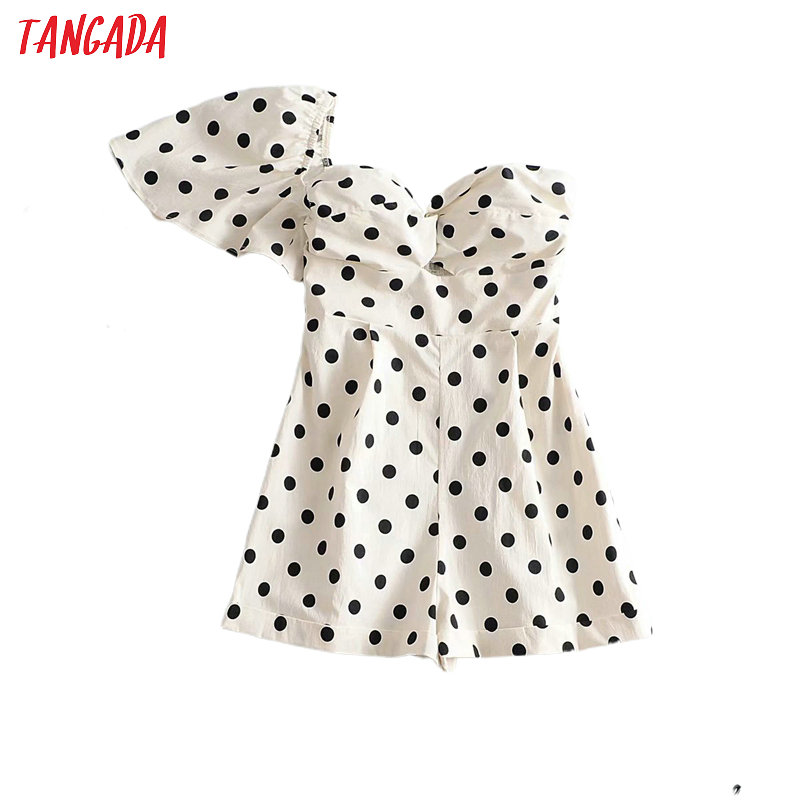 Tangada Women Vintage One Shoulder Off Dots Playsuits Elastic Waist Short Sleeve Rompers Ladies Casual Chic Jumpsuits 3A26