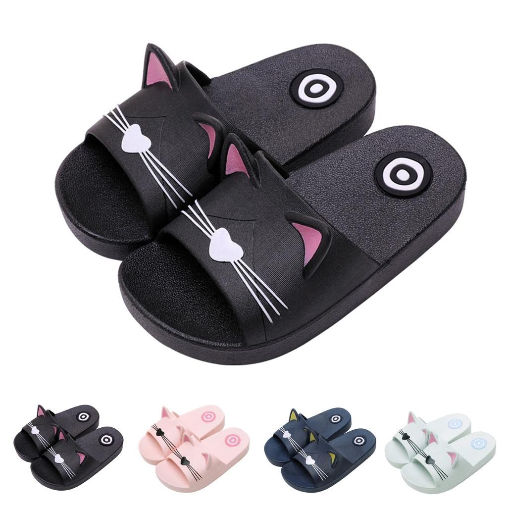 Todder Boy Girl Home Slippers Cartoon Cat Shoes 2020 Summer Animal Kids Indoor Baby Flip Flops PVC Kawaii Beach Casual Soft