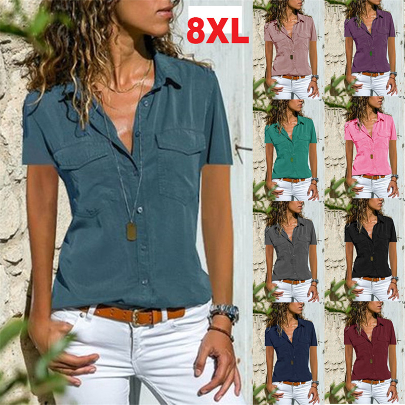 S-8xl large size tops plus size women blouse casual button short sleeve turn-down collar womens loose shirts 2019 summer top(China)