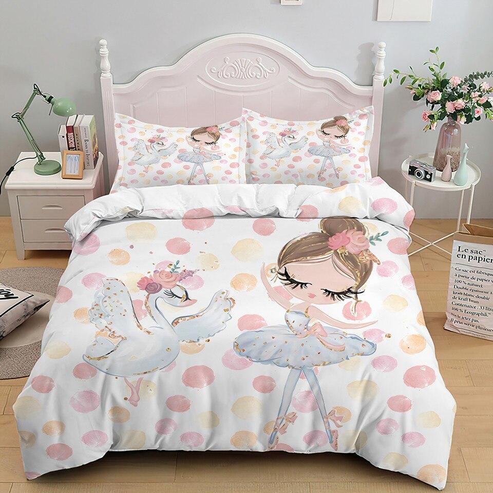 Cartoon Ballet Dancing Girl Duvet Cover Set Princess Style Pink Bedding Set Kids Girl Nordic Style Cute Bed Set Twin Queen King