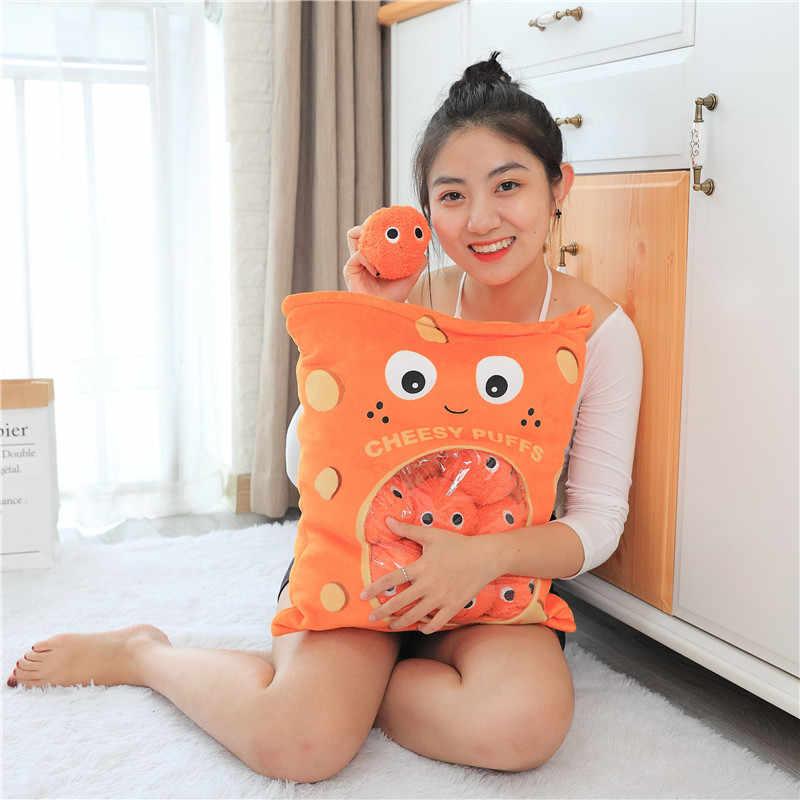 ラブリー 48*38 センチメートルバッグ 8 個のスナック Puddiing ソフトぬいぐるみパフぬいぐるみ枕クリエイティブ枕おもちゃ子供のための漫画ソファクッション