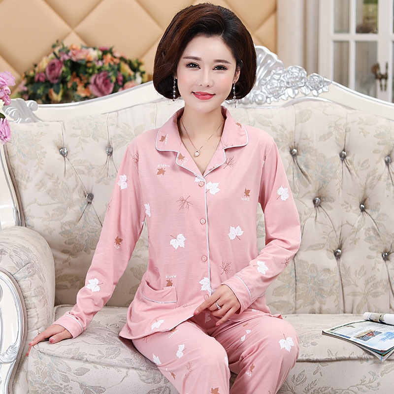 2018 New Style Spring And Autumn Women's Middle-aged Loose And Plus-sized Pajamas Cardigan Fold-down Collar Long Sleeve Homewear