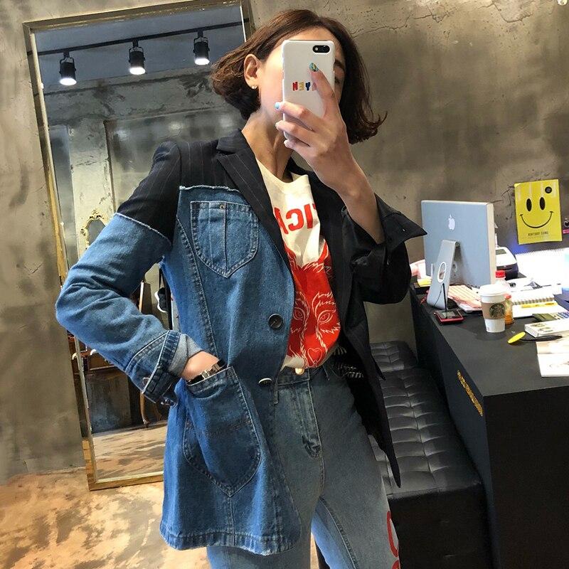 SHENGPALAE Chic Irregular Hit Color Split Joint  Stripe Women Blazer Long Sleeve Korean Fashion Autumn Denim Loose Coat FT138