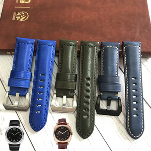 MERJUST Italian Genuine Leather Handmade Handmade blue green Band Retro Watch Straps 24mm for Panerai Pam Man Watch Tool