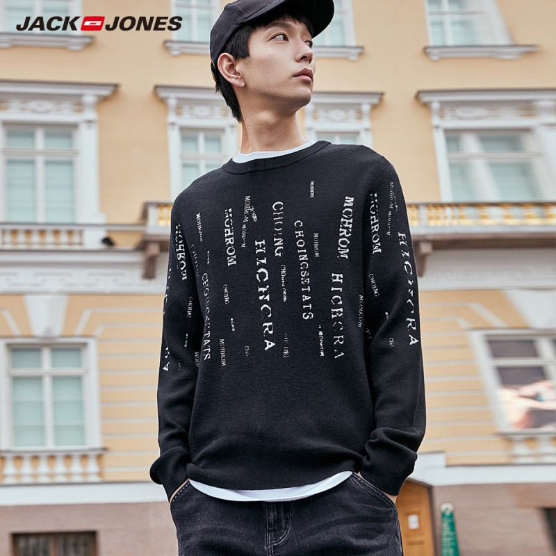 JackJones Men's Letter Printed Crew Neck Sweater Streetwear 219324512