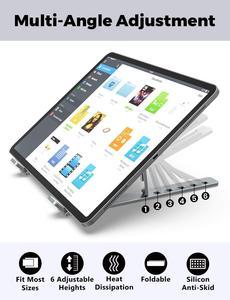 Image 2 - אנכי נייד Stand עבור Macbook Air Pro 13 15 שולחן עבודה אלומיניום Stand עם מתכוונן Dock גודל עבור משטח Chromebook