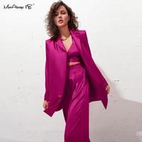 Mnealways18 Büro Damen Rosa Blazer Mode Herbst 2021 Langarm Übergroßen Frauen Blazer Mantel Elegante Schärpen Satin Jacken