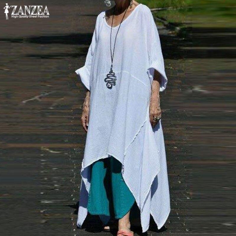 ZANZAE Fashion Asymmetrical Dress Women's Summer Sundress 2019 Casual 3/4  Sleeve Midi Vestidos Female O Neck Robe Femme