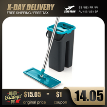 Düz sıkma paspas ve kova el ücretsiz sıkma zemin temizlik paspası mikrofiber paspas pedleri islak veya kuru kullanım parke laminat karo