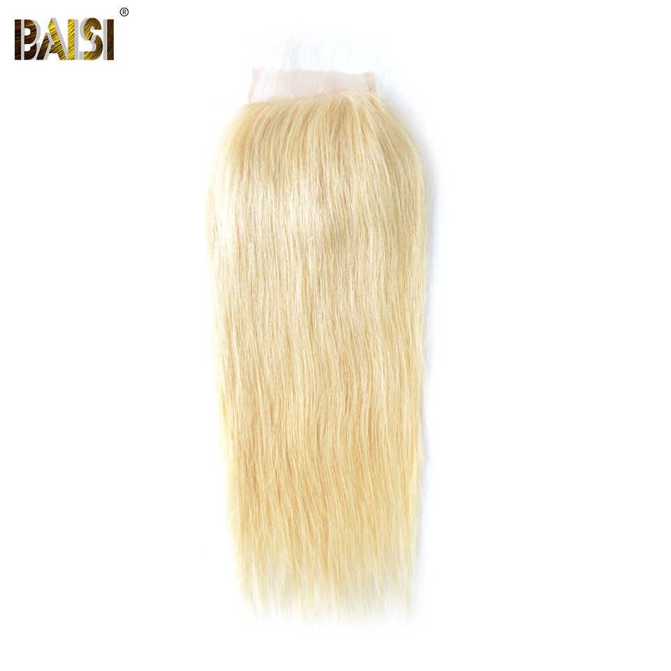 Baisi brasileiro em linha reta #613 loira fechamento do laço 4x4 remy fechamento do cabelo humano laço transparente descorado nós cabelo do bebê