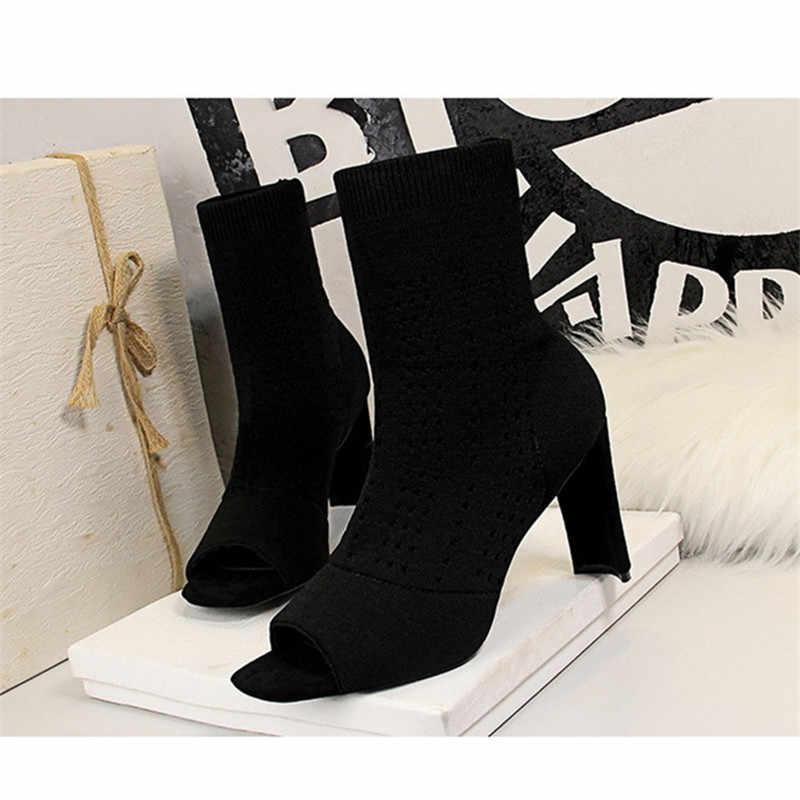 Phụ Nữ Mùa Đông 2019 Giày Bốt Nữ Tất Thời Trang Mắt Cá Chân Giày Cho Nữ Giày