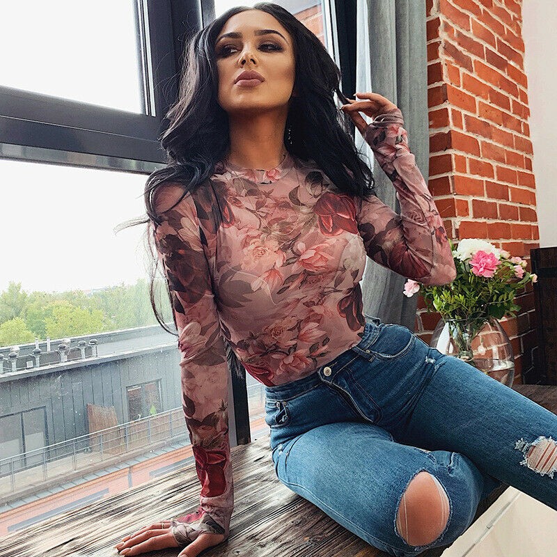 Sexy Women Long Sleeve See-through Mesh Sheer O Neck Stretch Bandage Bodysuit Floral Tops Leotard Jumpsuit