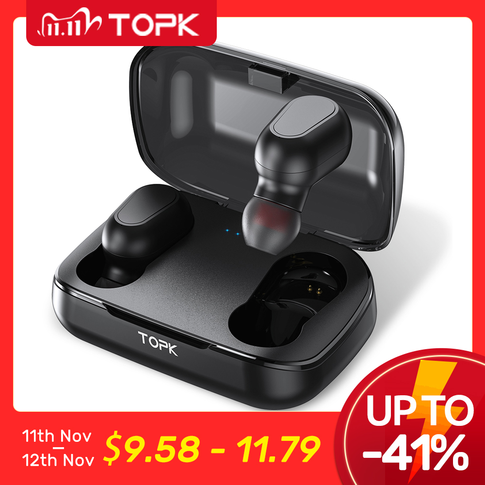 TOPK TWS Bluetooth 5 0 Wireless Bluetooth Headphones Earphones With Microphone Mini Cordless Earbuds for Xiaomi for Smart Phone