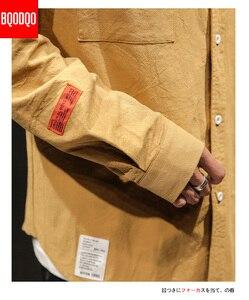 Image 5 - Trắng Dài Tay Thu Đông In Chữ Sơ Mi Nam Thời Trang Dạo Phố Xã Hội Rời Mùa Đông Cotton Hàng Hóa Quân Sự Áo Sơ Mi Nam