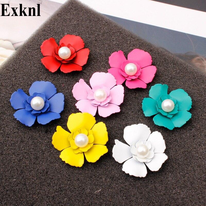Exknl Wedding Stud Earrings Women Small Korean Style Simulated Pearl Flower Stud Earrings Fashion Women Jewelry Earrings 2019