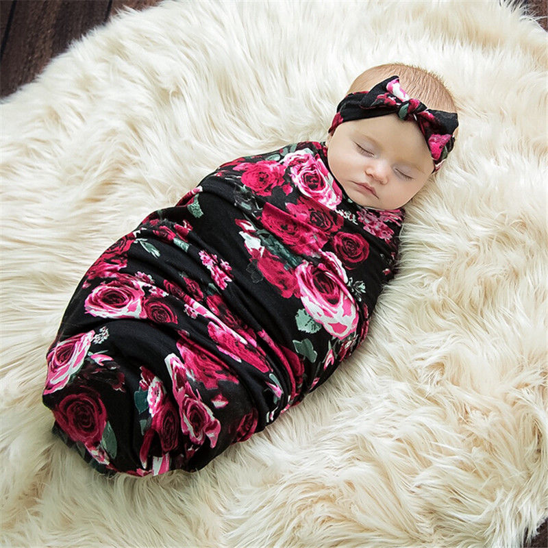 Babies Sleeping Bags Newborn Baby Swaddle Wrap Envelope 100%Cotton 0-3 Months Baby Blanket Swaddling Wrap Sleepbag Black Floral