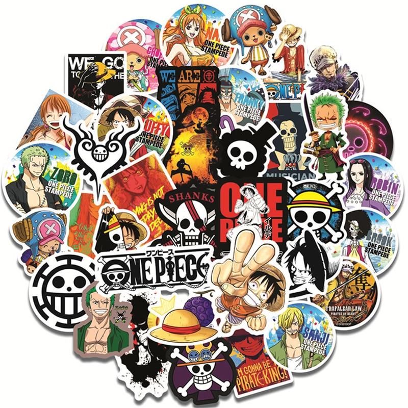 Piezas/10/recompensa de 30/50 pegatinas de Anime de dibujos animados figura de colección de películas Roronoa Zoro nace Portgas D. Ace Graffiti equipaje monopatín