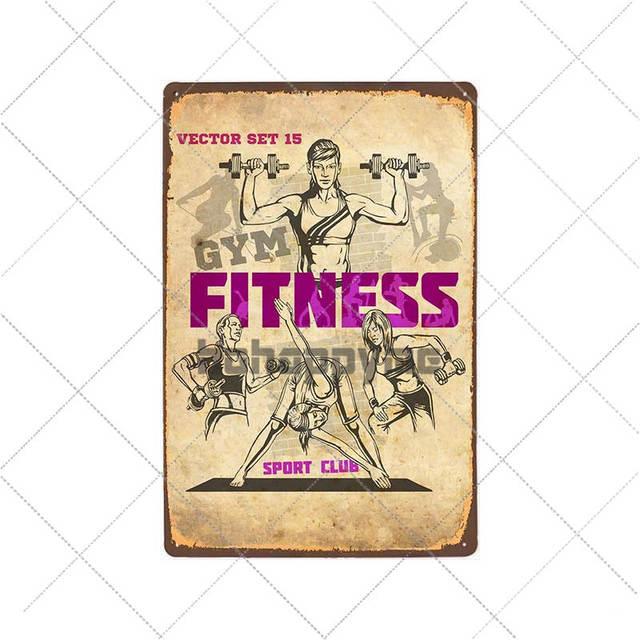 Metal Tin Sign fitness gym Decor Bar Pub Home Vintage Retro Poster
